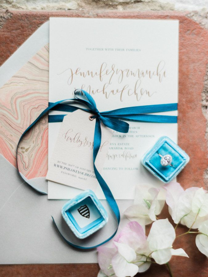 Bright blue Mrs. Box + stunning oval halo e-ring: www.stylemepretty... | Photogr...