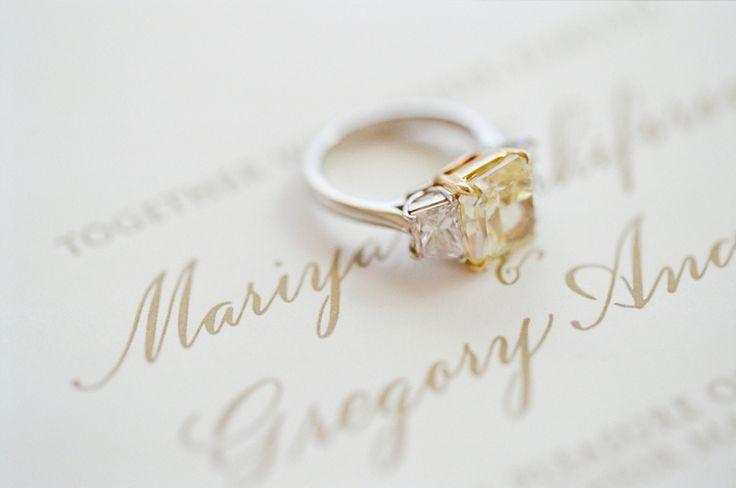 Canary diamond three stone diamond ring: www.stylemepretty...   Photography: Jos...
