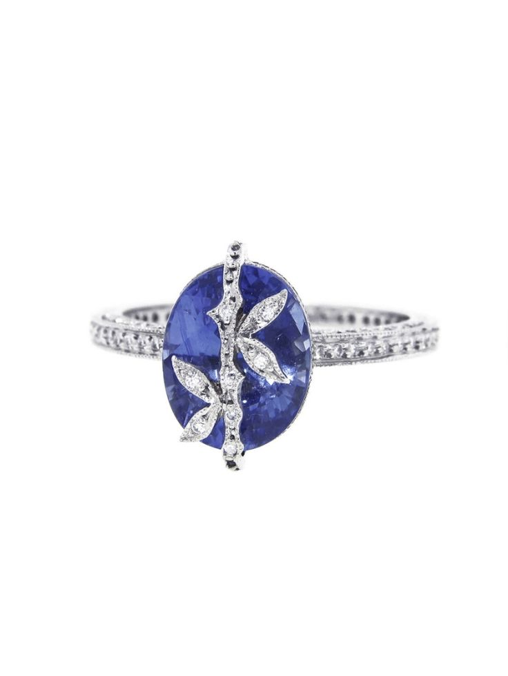 Cathy Waterman Oval Blue Sapphire Bamboo Ring: www.stylemepretty...