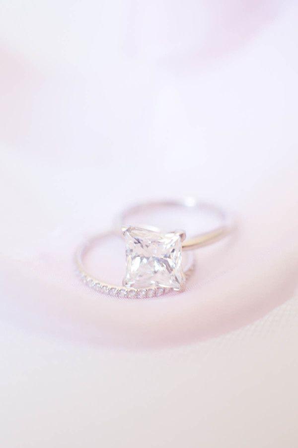 Classic princess cut diamond engagement ring: www.stylemepretty... | Photography...