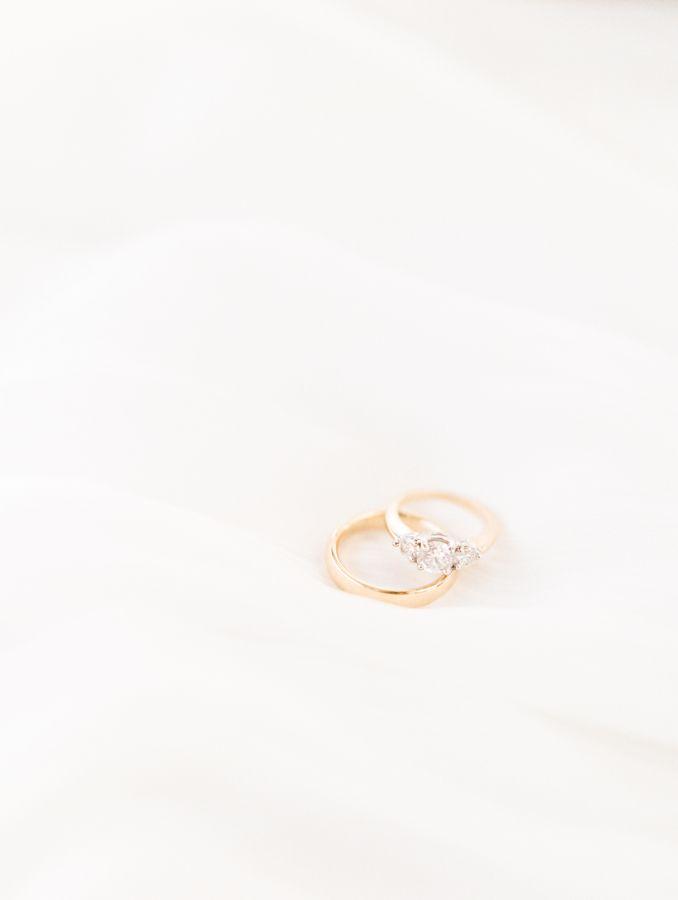 Classic three-stone engagement ring: www.stylemepretty... | Photography: Brittan...