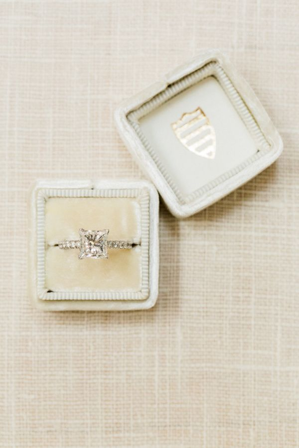 Dazzling princess cut solitaire engagement ring: www.stylemepretty... | Photogra...