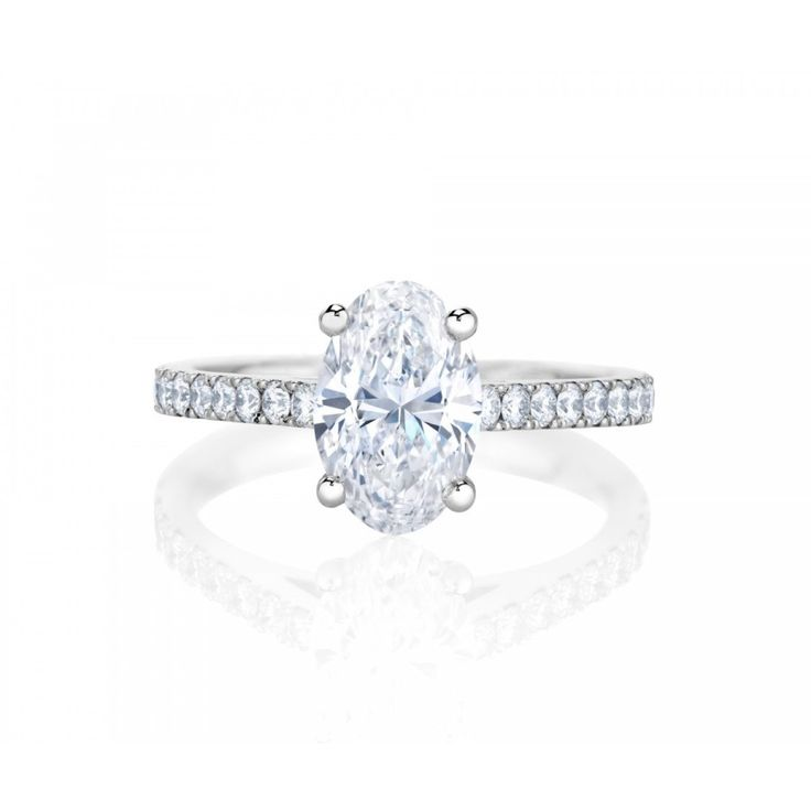 De Beers Classic Pavé Oval Cut Solitaire Ring www.stylemepretty...