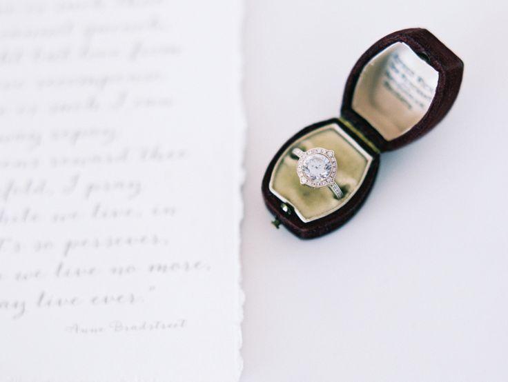 Diamond halo engagement ring + vintage ring box: www.stylemepretty... | Photogra...