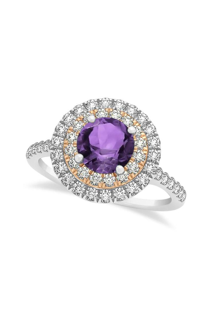 Diamond, rose gold and purple amethyst engagement ring: www.stylemepretty...