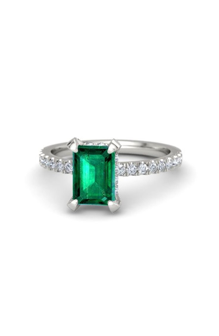 Emerald cut emerald engagement ring: www.stylemepretty...