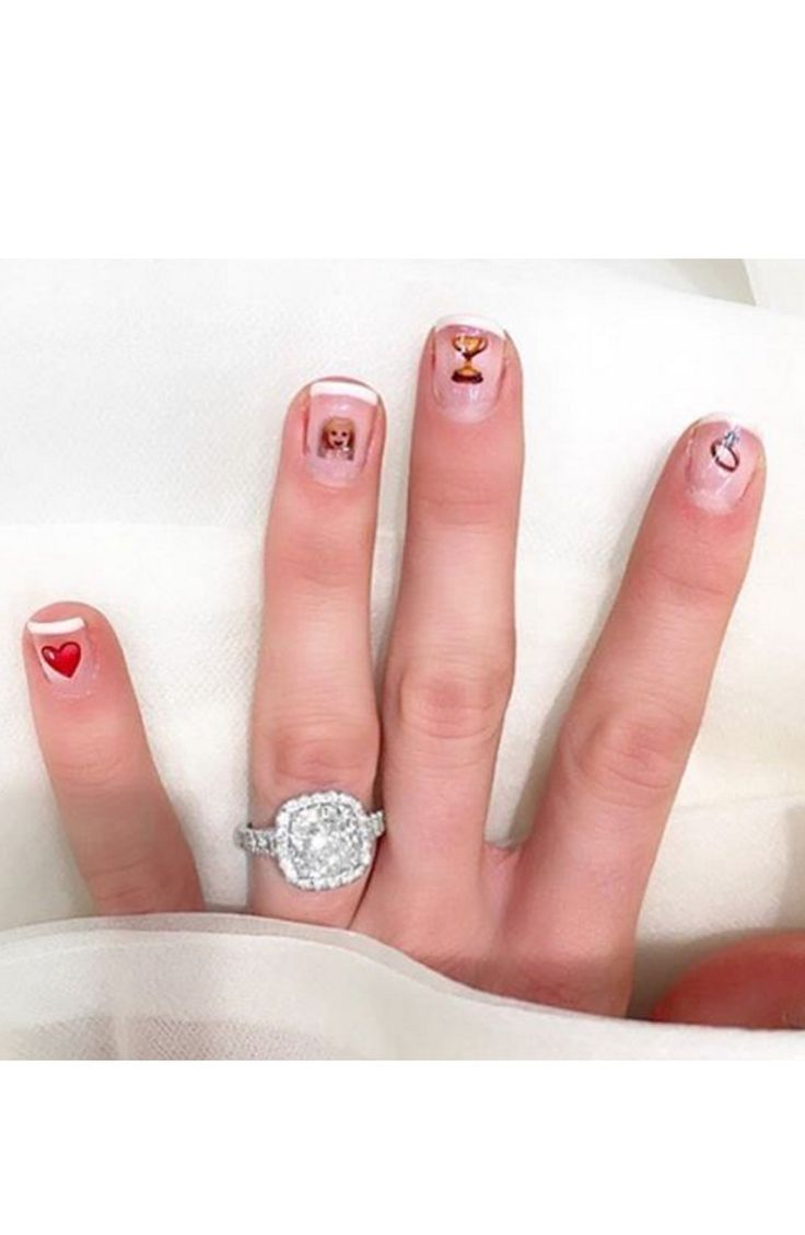 Emoji nail stickers + a pretty ring selfie: www.stylemepretty...