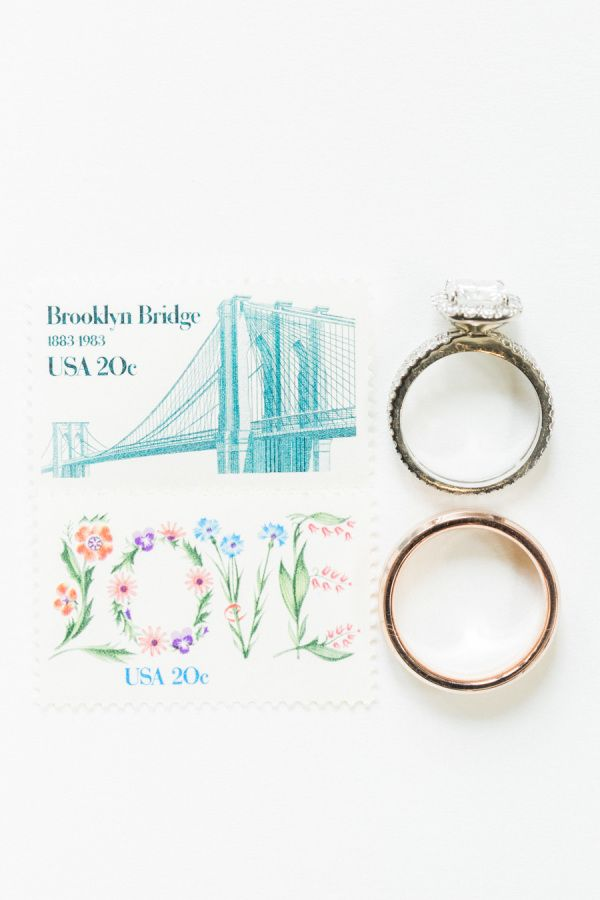 Engagement ring + pretty vintage stamps: www.stylemepretty... | Photograpy: Koma...