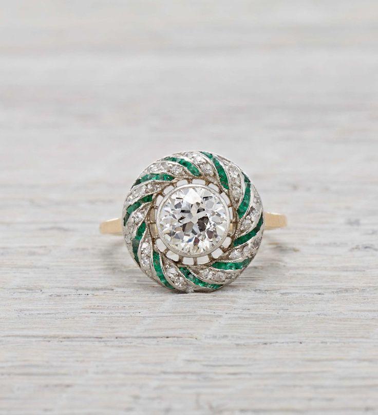 Erstwhile Vintage Edwardian Emerald and Diamond Gold Engagement Ring: www.stylem...