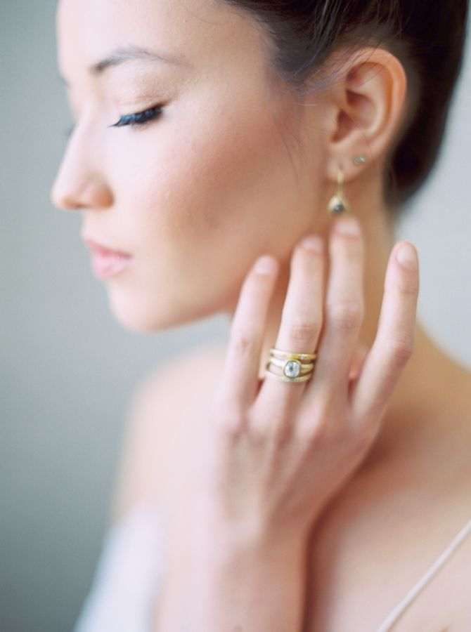 Gold stacked rings:  www.stylemepretty... | Photography: Blueberry Photography -...