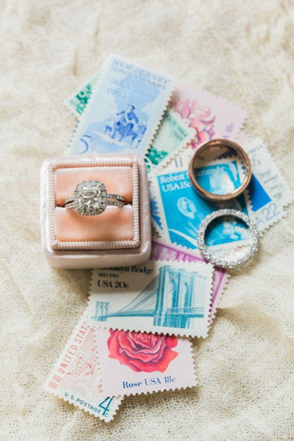 Gorgeous cushion cut diamond halo engagement ring: www.stylemepretty... | Photog...
