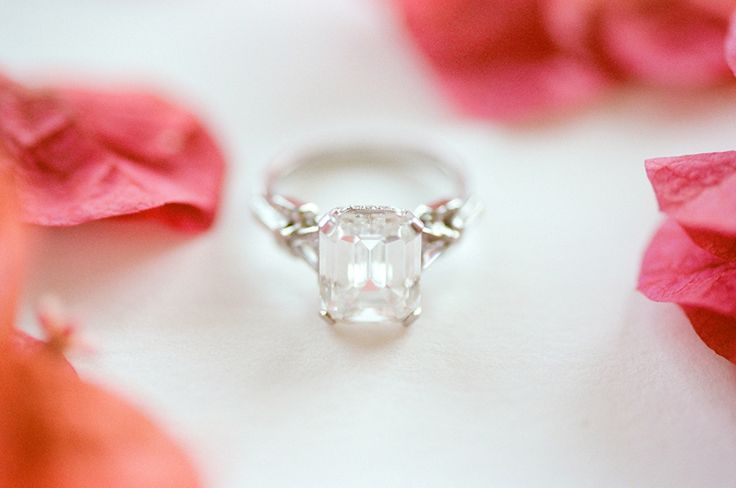 Gorgeous emerald cut diamond engagement ring: www.stylemepretty... | Photography...
