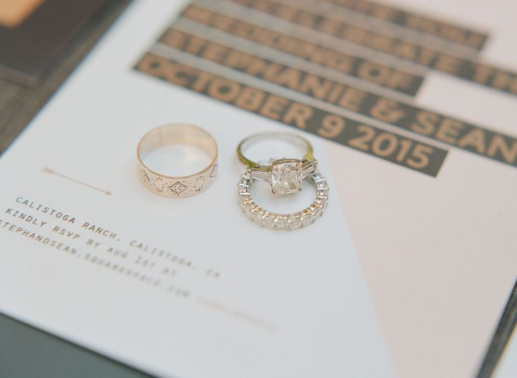 Gorgeous engagement ring + wedding bands: www.stylemepretty... | Photography: Sy...