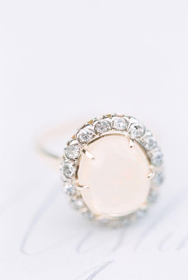 Gorgeous opal halo engagement ring: www.stylemepretty... | Photography: Sweet Li...