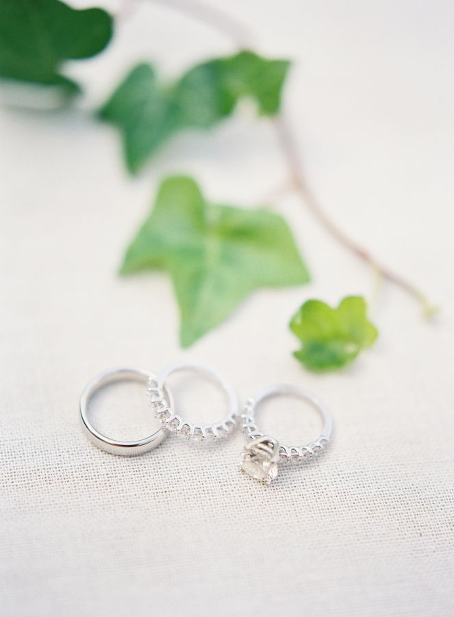 Gorgeous solitaire ring + matching bands: www.stylemepretty... | Photography: He...