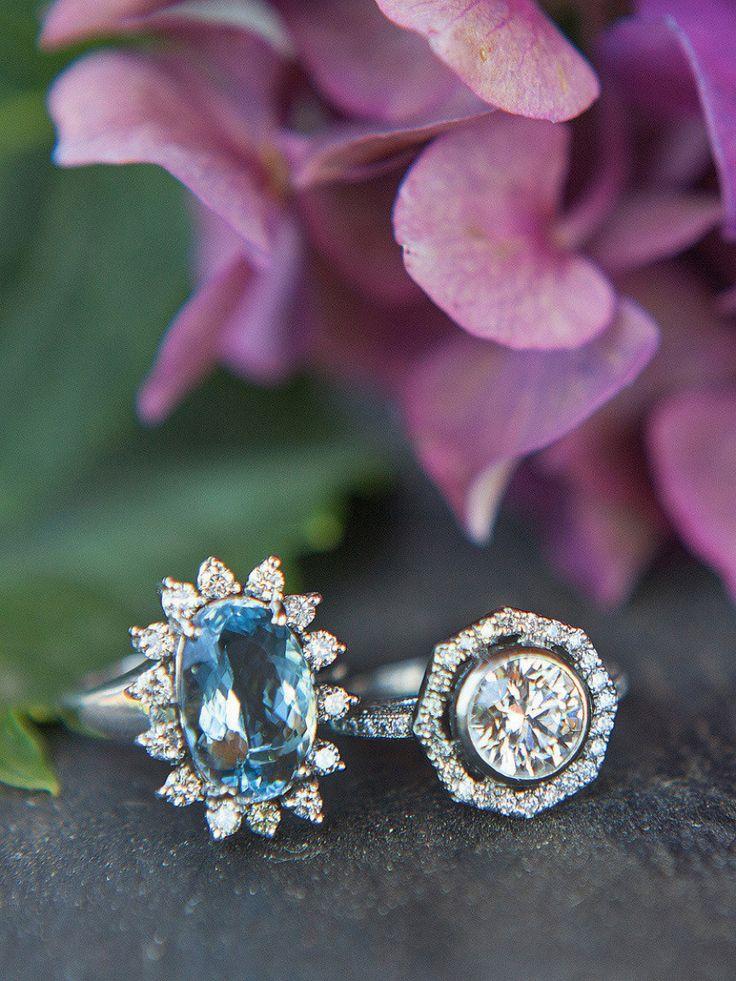 Gorgeous starburst aquamarine engagement ring: www.stylemepretty...