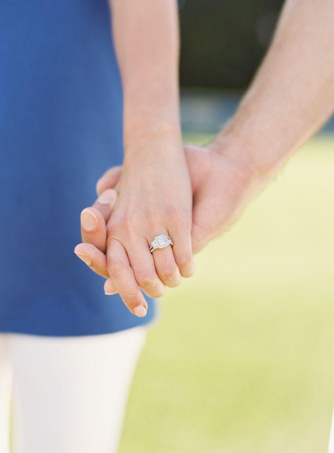Gorgeous three stone emerald cut engagement ring: www.stylemepretty...   Photogr...