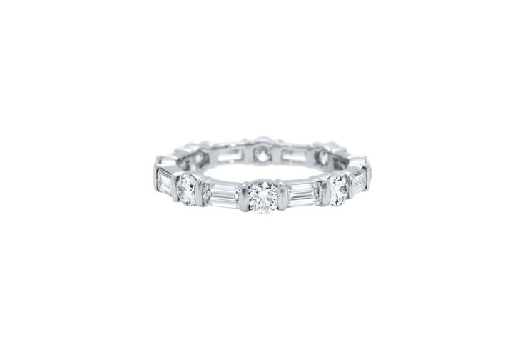 Harry Winston Bar-Set Round Brilliant and Emerald-Cut Diamond Wedding Band www.s...