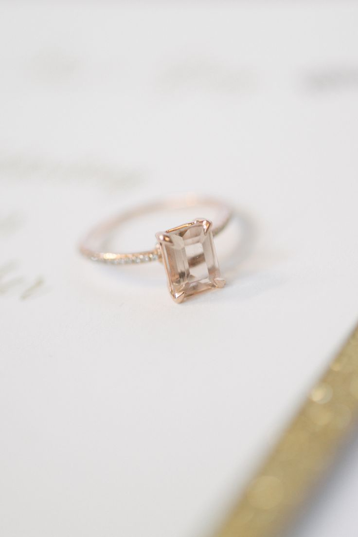 Inspired by Lauren Bushnell's emerald cut engagement ring: www.stylemepretty...