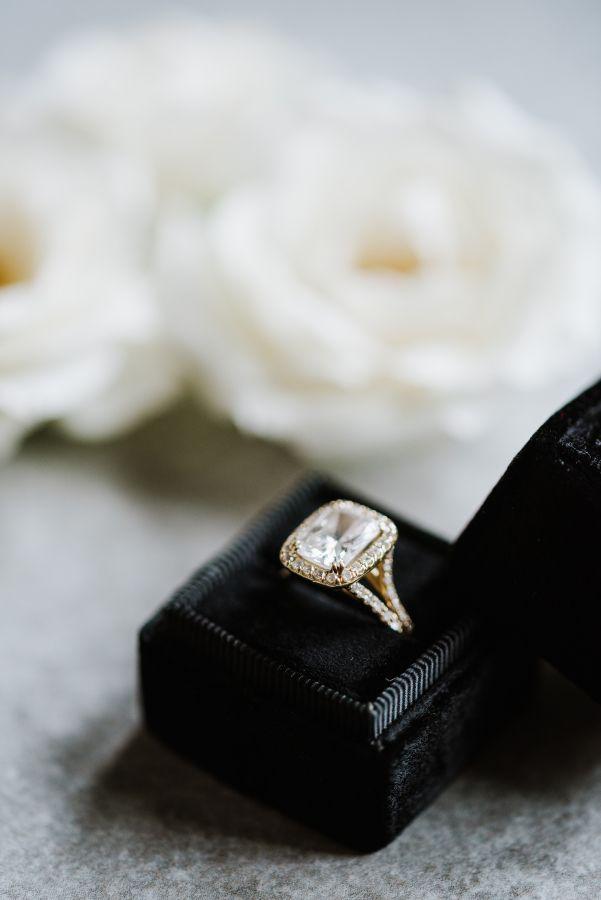 Loving this emerald cut halo e-ring: www.stylemepretty...   Photography: Annmari...