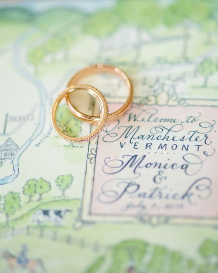 Matching rose gold wedding bands: www.stylemepretty... | Photography: Jonathan Y...