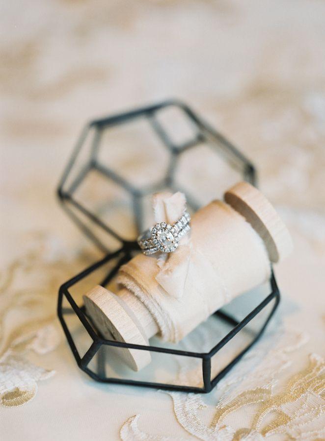 Modern geometric glass ring box: www.stylemepretty... | Photography: Brett Heide...
