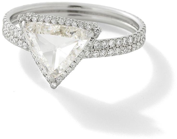 Monique Péan Trillion Rose Cut Diamond Ring with White Diamond Pavé www.stylem...