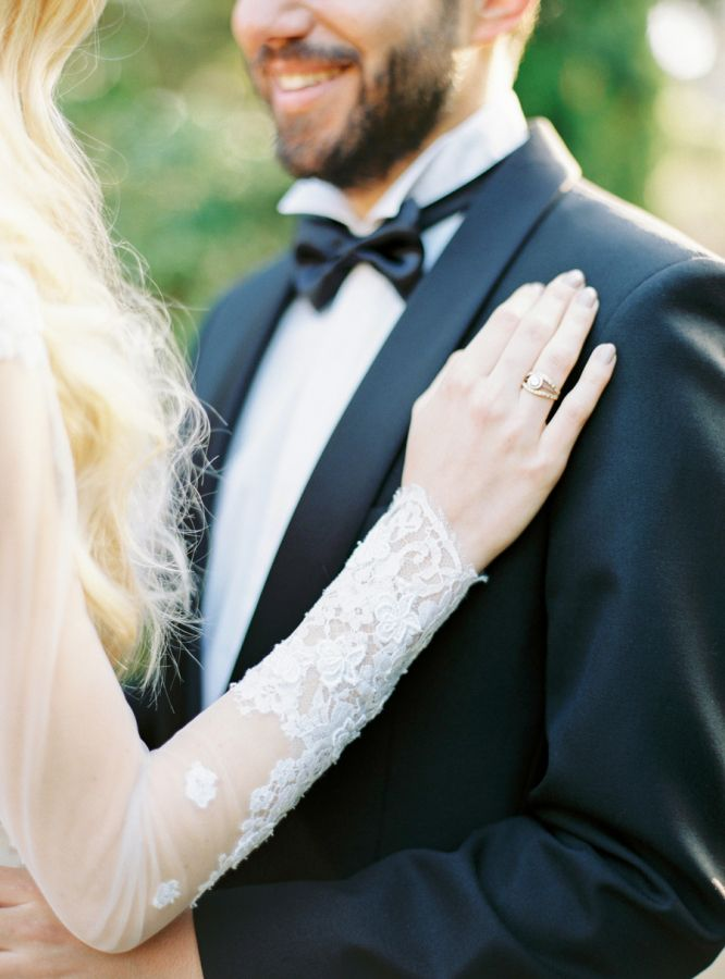 Neutral mani and pretty stackable bands: www.stylemepretty... | Photography: Mur...