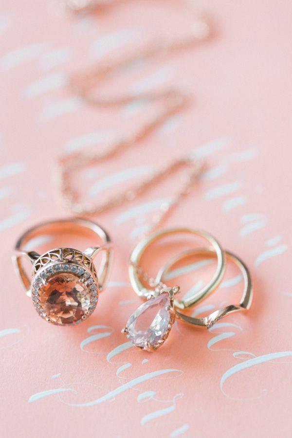 Peach sapphire ring: www.stylemepretty... | Photography: Caroline Tran - carolin...