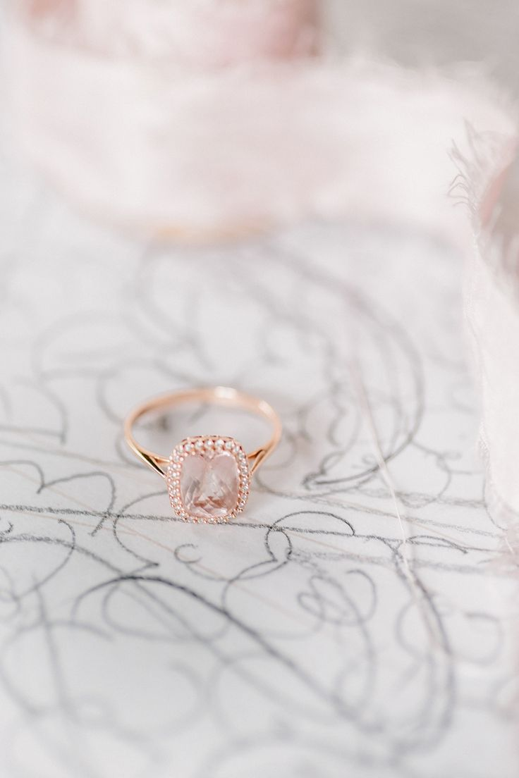Peach sapphire + rose gold engagement ring: www.stylemepretty...