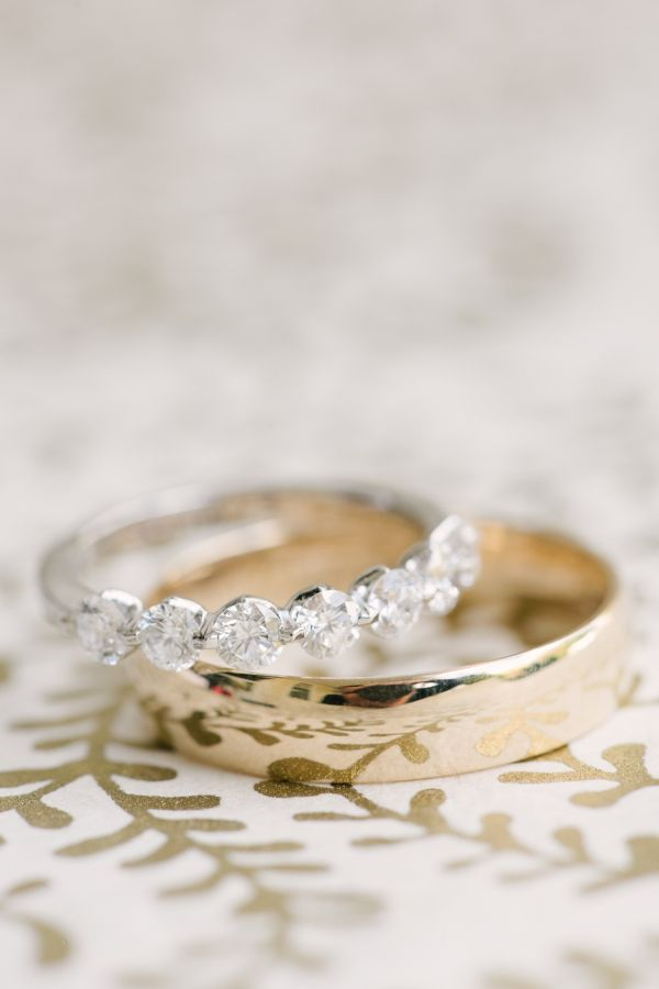 Platinum and gold wedding bands: www.stylemepretty... | Photography: Brklyn View...