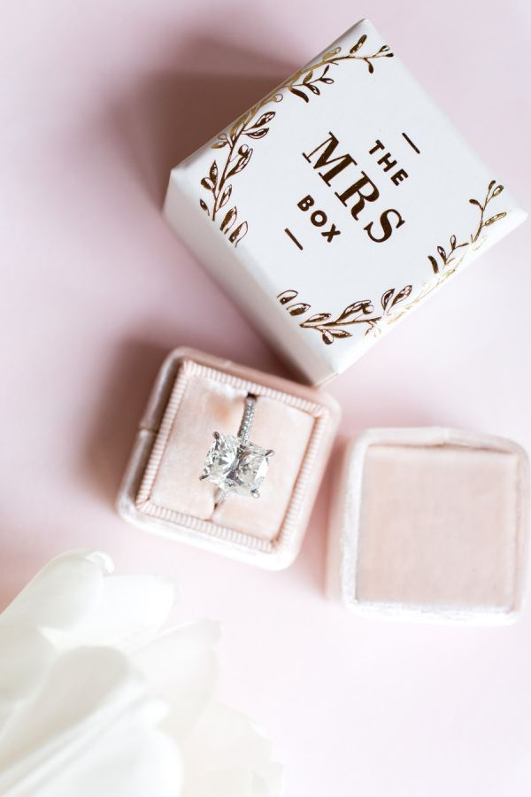Pretty blush Mrs. Box for the bride's bling: www.stylemepretty... | Photography:...