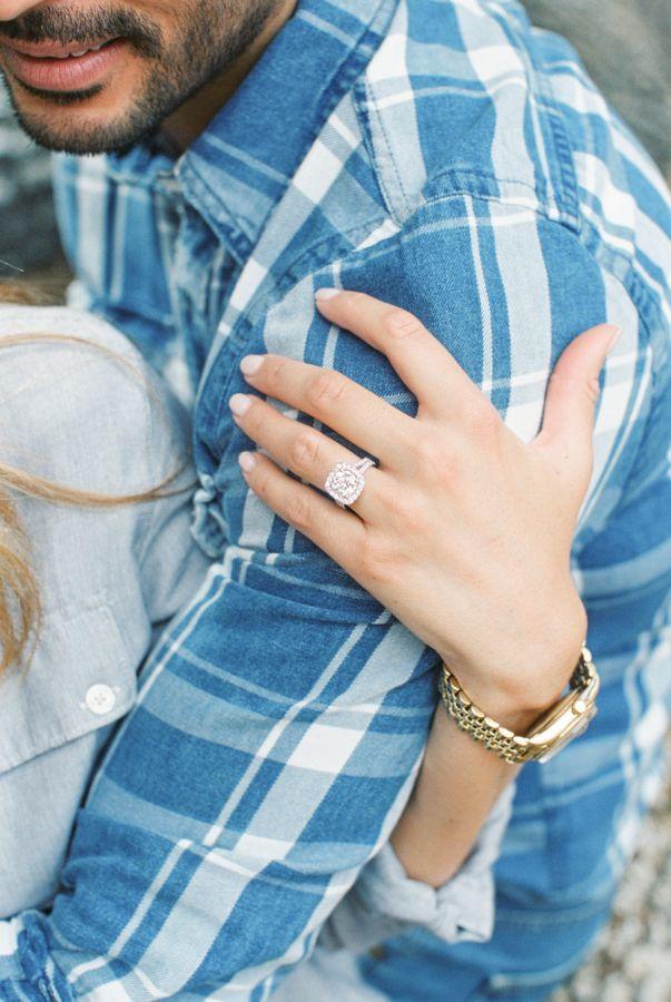 Pretty cushion cut halo engagement ring: www.stylemepretty...   Photography: Mic...