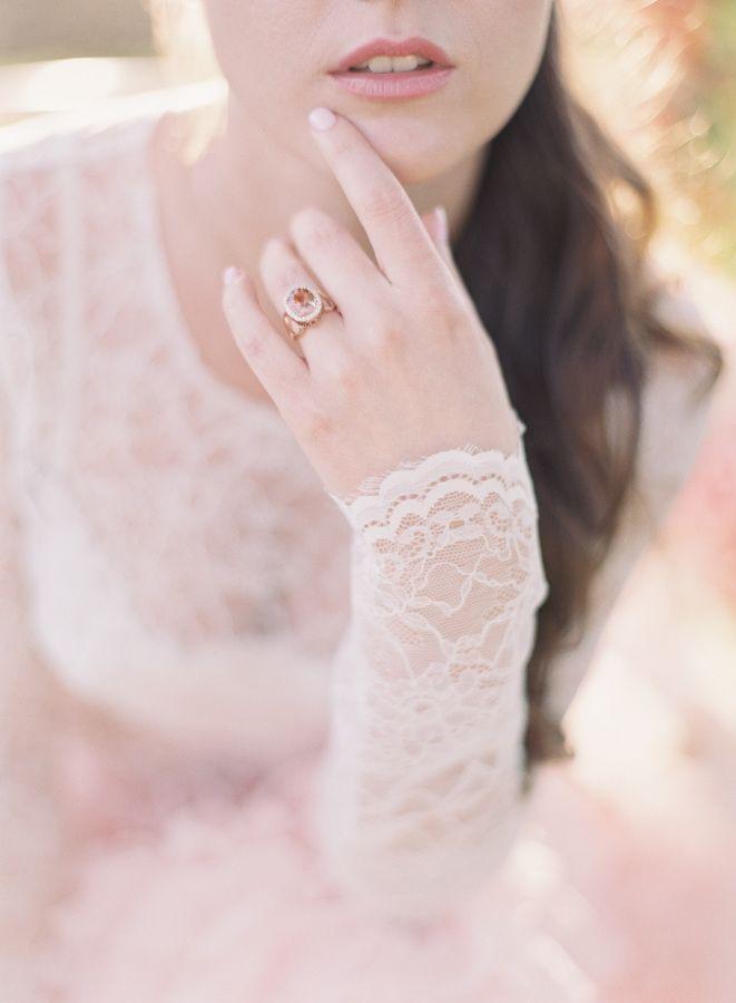 Pretty peach engagement ring: www.stylemepretty... | Photography: Caroline Tran ...