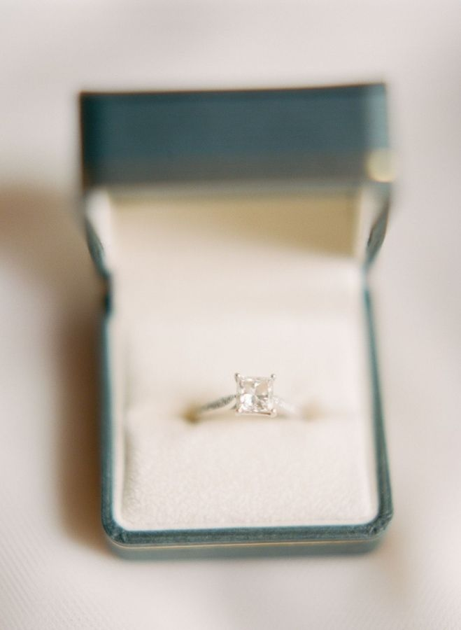 Princess cut solitaire engagement ring: www.stylemepretty... | Photography: Pete...