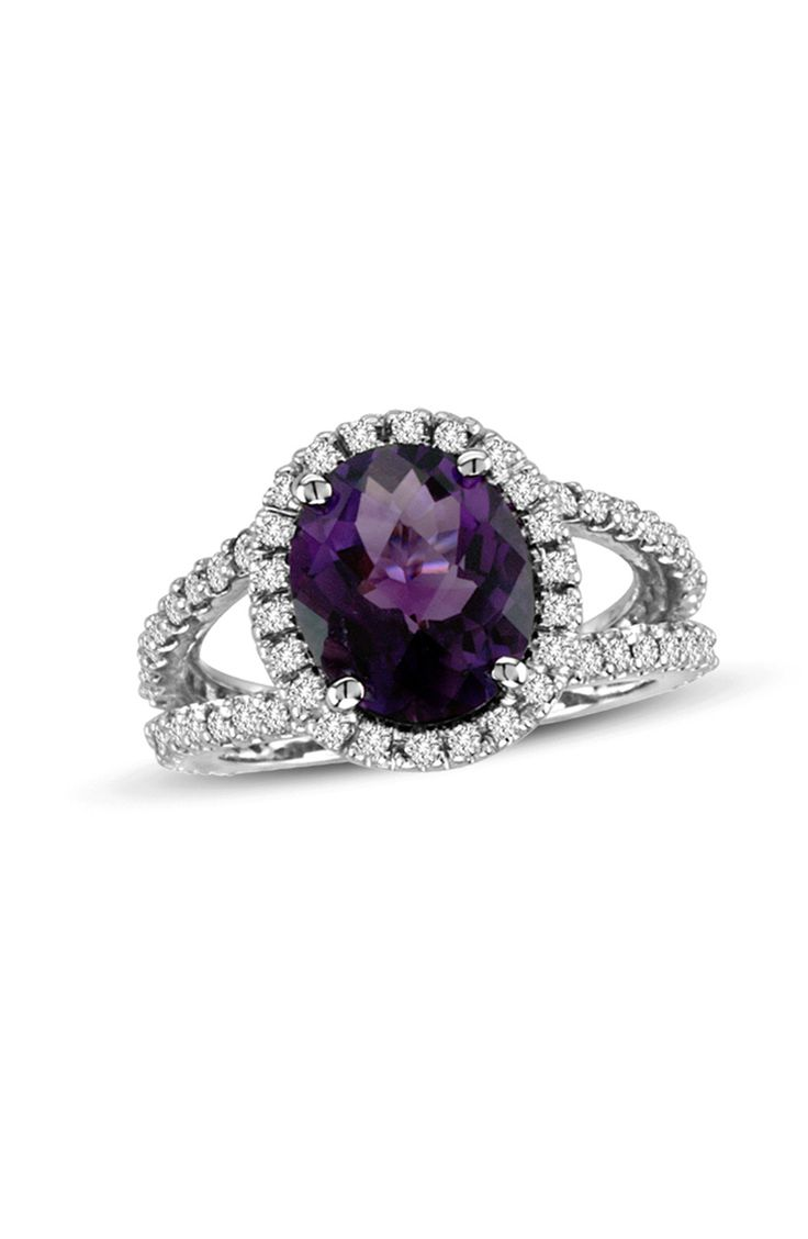 Purple amethyst + diamond gemstone engagement ring: www.stylemepretty...