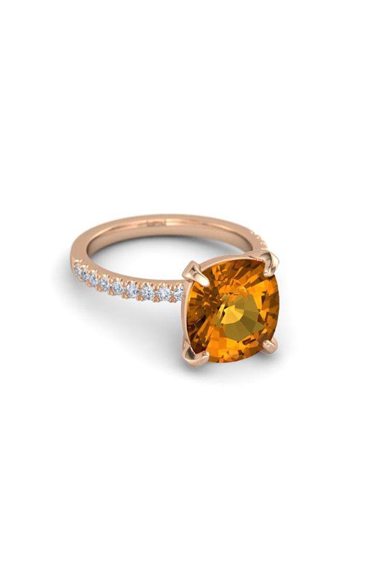 Rose gold + citrine birthstone engagement ring: www.stylemepretty...