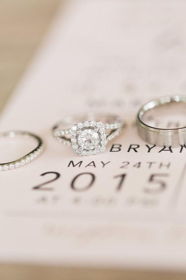 Sparkling halo engagement ring: www.stylemepretty...   Photography: Maison Mered...