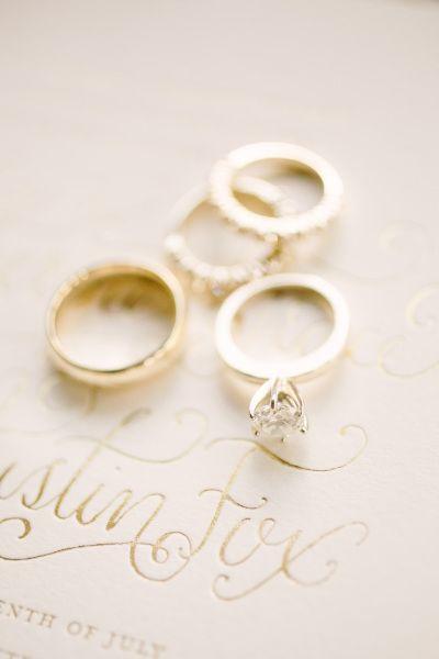 Stackable wedding rings: www.stylemepretty...