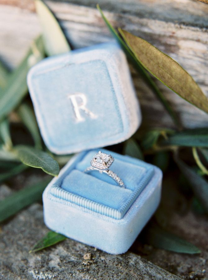 Stunning cushion cut halo engagement ring: www.stylemepretty... | Photography: L...