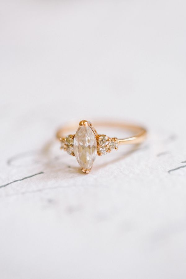 Stunning marquise cut vintage engagement ring: www.stylemepretty... | Photograph...