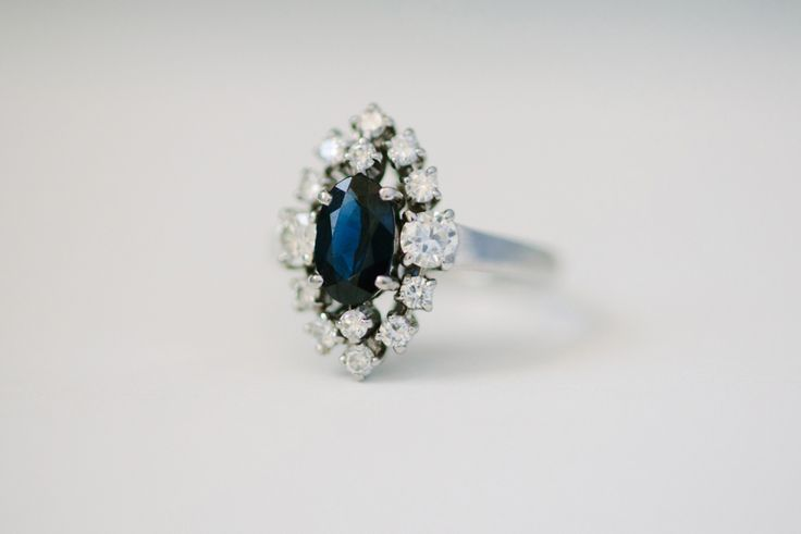 Stunning sapphire + diamond engagement ring: www.stylemepretty... | Photography:...