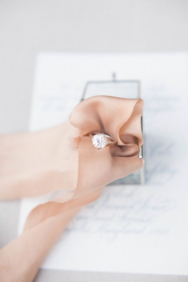 Stunning solitaire diamond engagement ring: www.stylemepretty... | Photography: ...