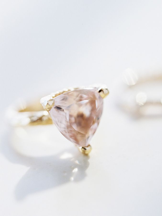 Triangular peach sapphire engagement ring: www.stylemepretty... | Photography: R...