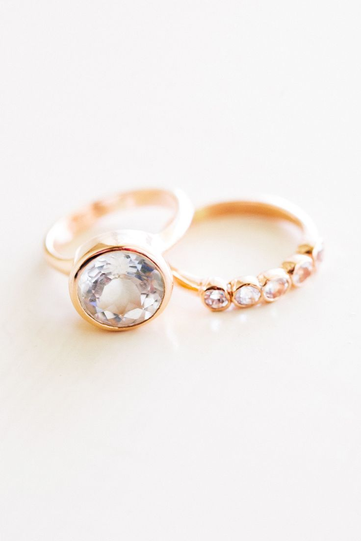 Unique gold engagement ring + matching wedding band: www.stylemepretty...