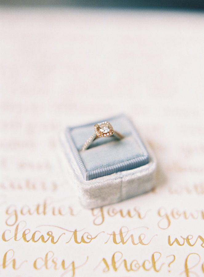 Unique mixed metal engagement ring: www.stylemepretty... | Photography: Michael ...