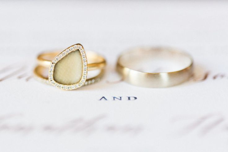 Unique wooly mammoth fossil engagement ring: www.stylemepretty... | Photography:...
