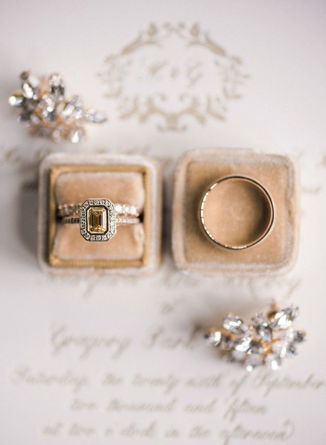 Vintage canary diamond halo engagement ring: www.stylemepretty... | Photography:...
