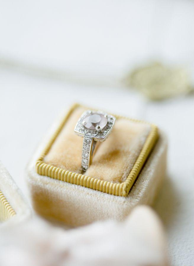 Vintage inspired gemstone engagement ring: www.stylemepretty...   Photography: K...
