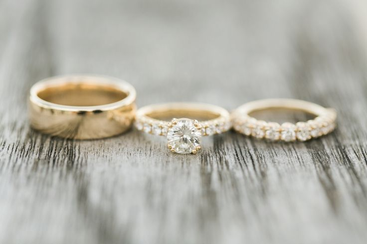 Yellow gold diamond engagement ring + wedding bands: www.stylemepretty... | Phot...